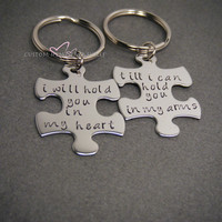 NO LONGER OFFERING CHRISTMAS DELIVERY Couples Keychains, I will hold you in my heart till i can hold you in my arms LDR