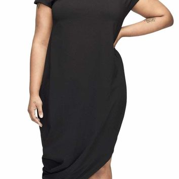 Black Short Sleeve Asymmetrical Hem Plus Size Dress