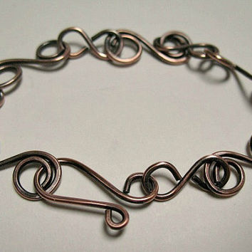 Copper Bracelet, Rustic Oxidized Jewelry