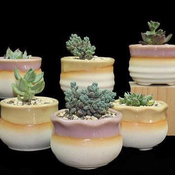 2016 Random 4 pcs succulent plants pot stoneware flowing glaze firing thumbs pelvic breathable flower pot free shipping LH1001