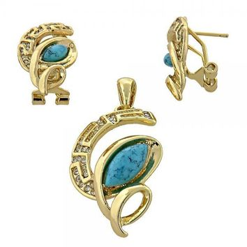 Gold Layered Earring and Pendant Adult Set, Greek Key Design, with Opal and Crystal, Gold Tone