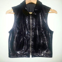 Vintage GUESS Vegan Leather Black Snake Skin Style Zip Up Soft Grunge Raver Goth Size Medium