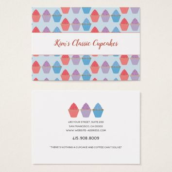 Whimsical Cupcake Pattern Baker Business Card