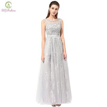 SSYFashion New Evening Dress the Bride Grey Elegant Embroidery Lace Sleeveless Floor-length Long Prom Dresses Custom Plus Size