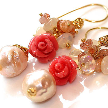 Coral Rose Flower Kasumi Style Pearl Oregon Sunstone White Australian Opal Gold Vermeil Dangle Earrings