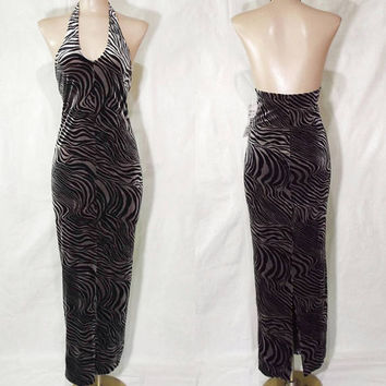 Vintage 90s Tiger Print Velvet Dress | 1990s Long Stretch Velvet Dress | Halter Plunge Neckline | Sexy Bodycon Dress | Silver Grey & Black