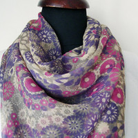 Purple floral scarf, Lavander scarves, Grey pink Flowers scarf, Chiffon scarf, Viscose scarf women, Fashionable scarf, Summer accessories