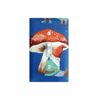 Gnome Mushroom Light Switch Plate Cover / Girls Boys Kids Room Decor / Gnome Sweet Gnome in Blue Christmas Time Alexander Henry