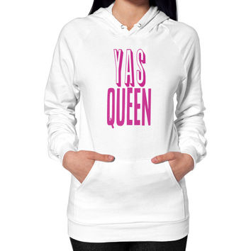 Yas Queen Pink Hoodie (on woman)