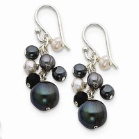 Sterling Silver Crystal/Hematite/FW Cult Peacock White Pearl Earrings