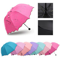 Leaves Wave Princess Flouncing Folding Lotus Dome Umbrella