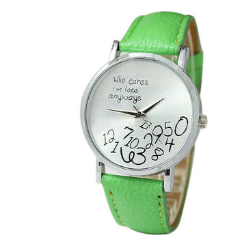 """""""Who Cares I'm Late Anyways"""" Women's Green Creative Fashion Faux Leather Quartz Watch"""