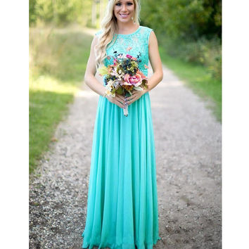 New Spring Sheath Bridesmaid Dresses Mint Chiffon Floor Length 2017 Lace Sheer Draped Low Back Wedding Prom Party Gowns Modern