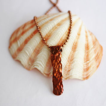 Hammered Copper Bar Necklace, Recycled Copper Wire, Handmade Artisan Jewelry By Hendywood