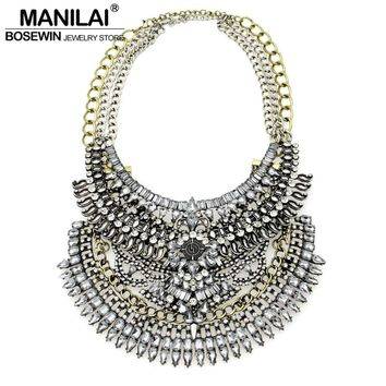 Latest Exaggerated Chokers Women Vintage Statement Necklace Big Jewelry Two Necklaces Worn together or separately DIY Collier
