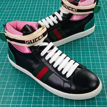 Gucci Ace Embroidered High Top Sneaker Black Pink
