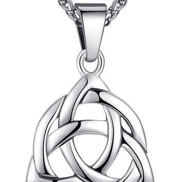 Stainless Steel Celtic Knot Irish Triquetra Lucky Love Pendant Necklace Unise...