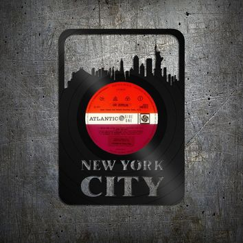 New York City Skyline, New York Door Sign, Cityscape, NYC Wall Art,  Vinyl Wall Decal. Record Art, Retro Home Decor, Men Cave Sign, Gift