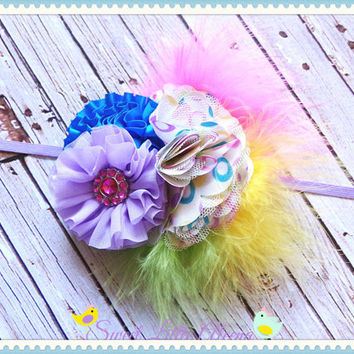 OTT Hair Bow Headband, Big Feather Headband, Birthday Flower Hairband, Purple Pink Green Yellow Headband, Polka Dot Bows, Big Baby Headbands