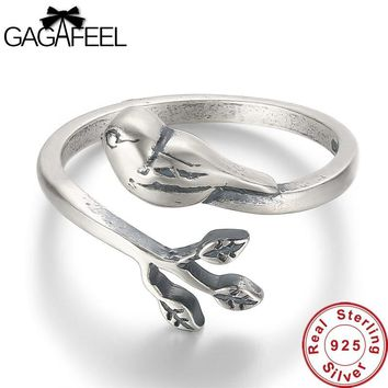 GAGAFEEL 100% Real 925 Sterling Silver Jewelry Branch & Cute Bird Opening Rings for Women Girls Gifts Animal Jewelry Drop Ship
