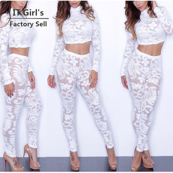 sexy white lace crop top long sleeve jumpsuit combinaison femme vintage party rompers womens jumpsuits plus size 2XL playsuit