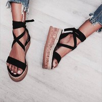 Summer  Wedge Espadrilles Women Sandals Open Toe Gladiator Sandals