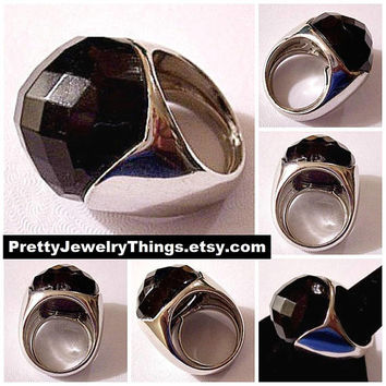 Black Disco Ball Ring Silver Tone Vintage Large Faceted Round Domed Jet Onyx Lucite Bead Size Adjustable Fits 7 To 9