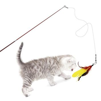 Pet Wire Feather Rod Cat Toy Durable Steel Wand Catcher Extendable Teaser Stick Cat Interactive toys