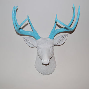 White and Robin's Egg Blue Deer Head Wall Mount - Near and Deer
