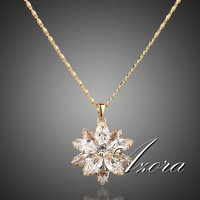 AZORA Sunflow Design 18K Real Gold Plated Gold Stellux Austrian Crystals Paved Pendant Necklace TN0003