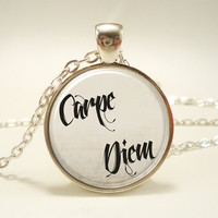 Carpe Diem, Inspirational Quote Pendant Necklace, Motivational Text Jewelry (1475S1IN)