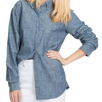LE3NO PREMIUM Womens Classic Long Sleeve Button Down Poplin Boyfriend Shirt
