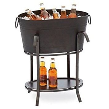 Sunjoy Industries L-BT153PST Party Beverage Tub, Black Steel, 19-1/2 x 14.6 x 26.8-In. - Quantity 6