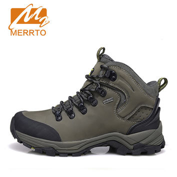 Man Skid-proof Genuine Leather Waterproof Chukka Outdoor Sport  Athletic Hiking Shoes