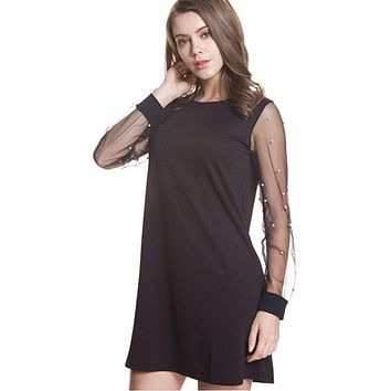 Elegant Womens Dresses 2018 Summer Pearl Beading Mesh Sleeve Tunic Dress Black Boat Neck Long Sleeve Dress