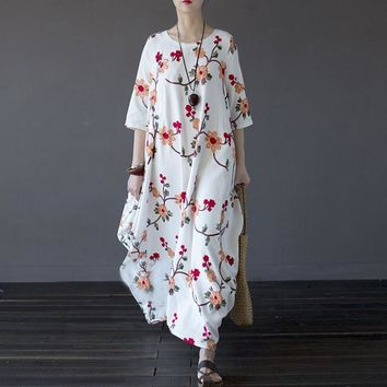 Plus Size Women Maxi Dress Embroidery Summer Autumn 2018 Loose O-neck 3/4 Sleeve Long Maxi Dresses Casual Party OversizeVestidos