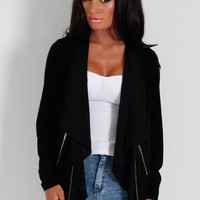 Selem Black Lightweight Drape Zip Jacket | Pink Boutique
