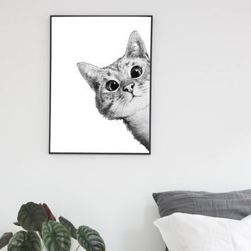 Nordic Lovely Cats Black White Posters and Prints Wall Art Canvas Painting Pictures For Living Room Scandinavian Home Decor
