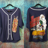 90s Looney Tunes Baseball Jersey Vintage Bugs Bunny Taz Graphic Tee Hip Hop T-Shirt Tasmanian Devil Cartoon Hip Hop Clothing Button Shirt XL