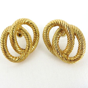 Vintage Gold Tone Pierced Earrings, Double Hoop Earrings, Oval Ridged Studs