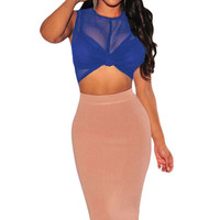 Royal Blue Sheer Mesh Knotted Crop Top