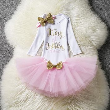 Bebes Tulle Princess Cake Smash Outfits 1 Year Baby Girl Birthday Dress Vestido Infant Party Dresses For Girl Baptism Clothes
