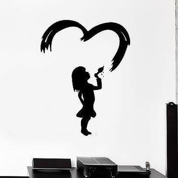 Wall Stickers Little Girl Drawing Painting Love Art Room Vinyl Decal Unique Gift (ig1985)