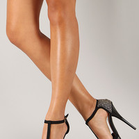 Qupid Dazzling-125 Jeweled T-Strap Peep Toe Heel