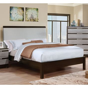 Cartier Contemporary Style Silver Upholstered Eastern King Bed