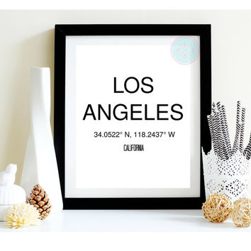 Custom Wall Print, Los Angeles, City Coordinates, Typography, Minimalist, Office Decor, Typographic Wall Art