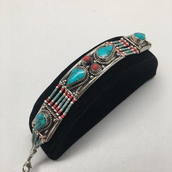 Vintage Nepalese Red Coral & Green turquoise Inlay Statement Bib Bracelet, NPB47