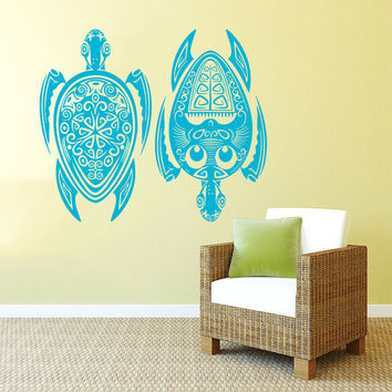 Wall Decal Vinyl Sticker Decals Art Home Decor Design Mural Couple Turtle Tortoise Water Sea Animal Swim Fashion Bedroom Dorm AN72