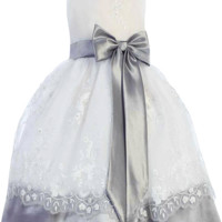 White & Silver Floral Embroidered Organza Overlay Dress with Taffeta Trim (Girls 6 months - Size 7)