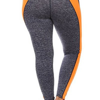 Always Yoga Leggings in Gray color with Orange stripe and Gusset Linings